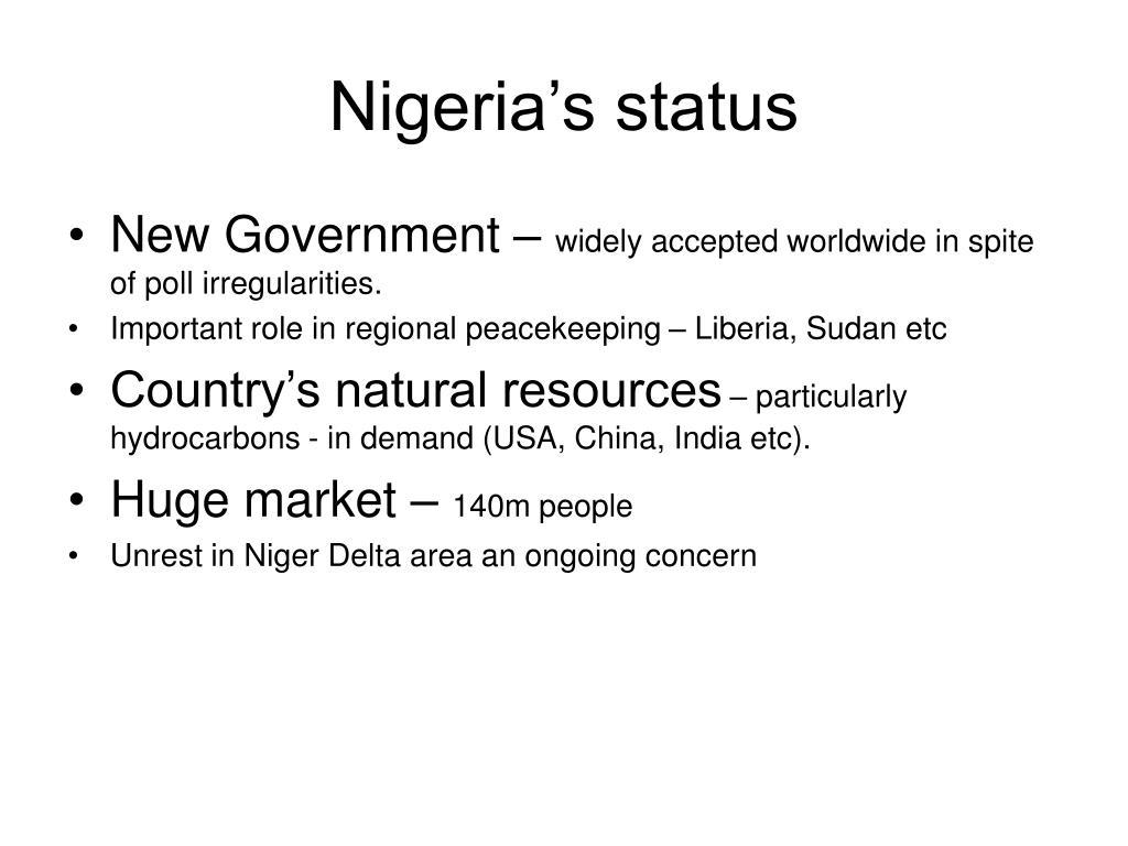 Nigeria's status