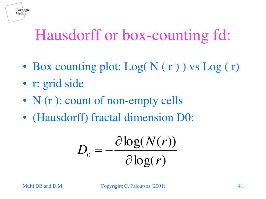 Hausdorff or box-counting fd: