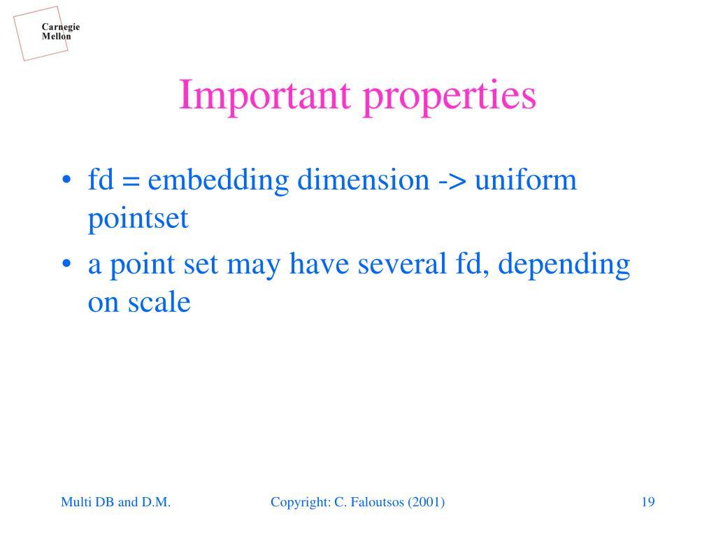 fd = embedding dimension -> uniform pointset