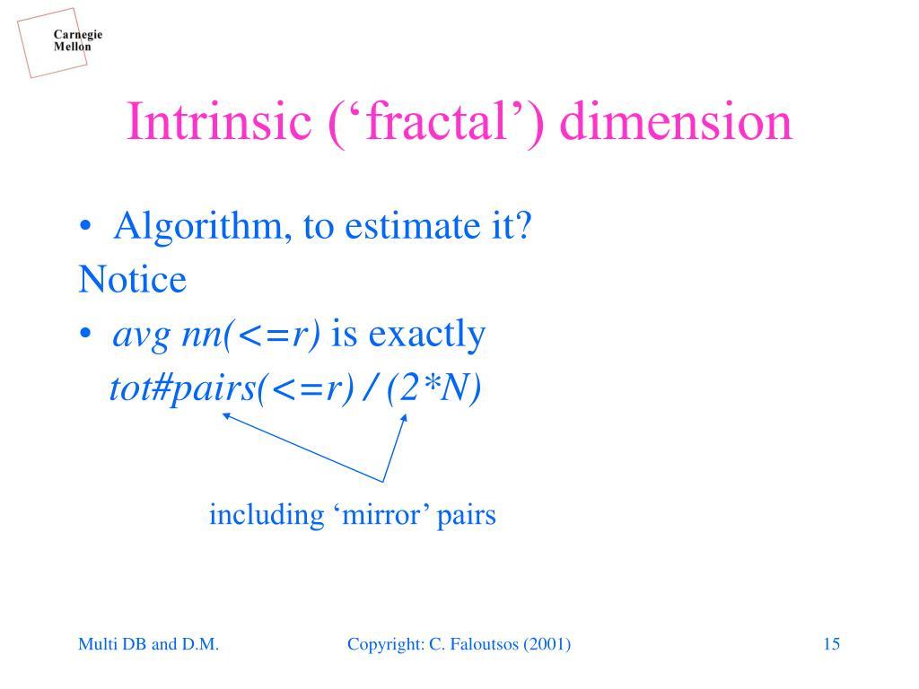 Algorithm, to estimate it?
