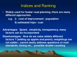 indices and ranking