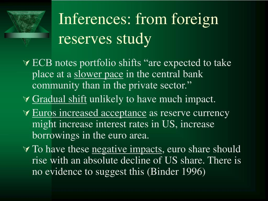 Inferences: from foreign reserves study