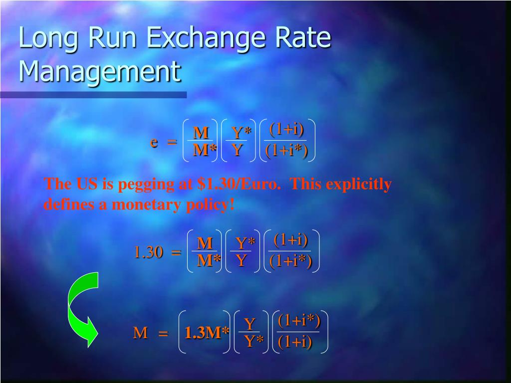 Long Run Exchange Rate Management