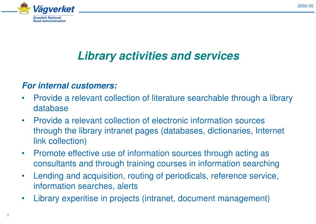 Library activities and services