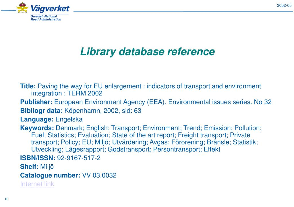 Library database reference