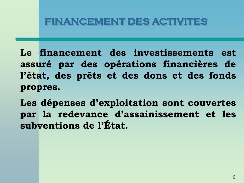 FINANCEMENT DES ACTIVITES