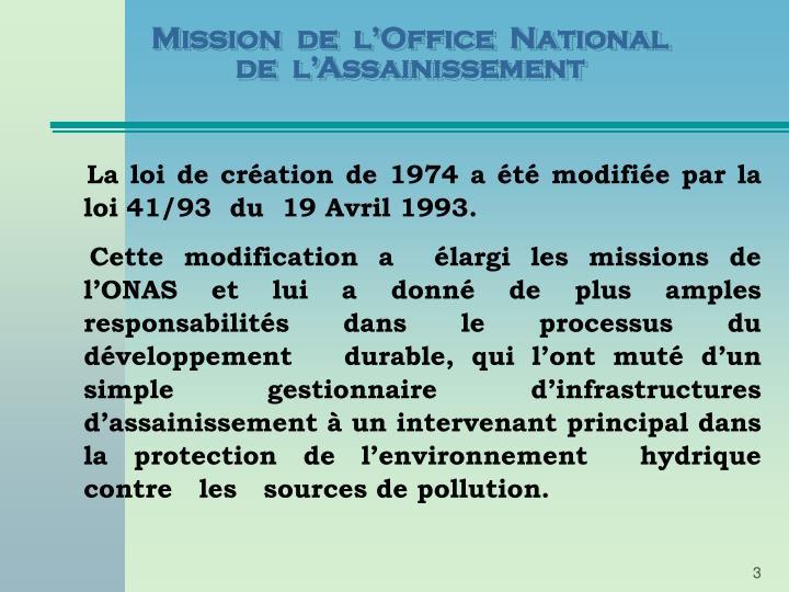 Mission de l office national de l assainissement