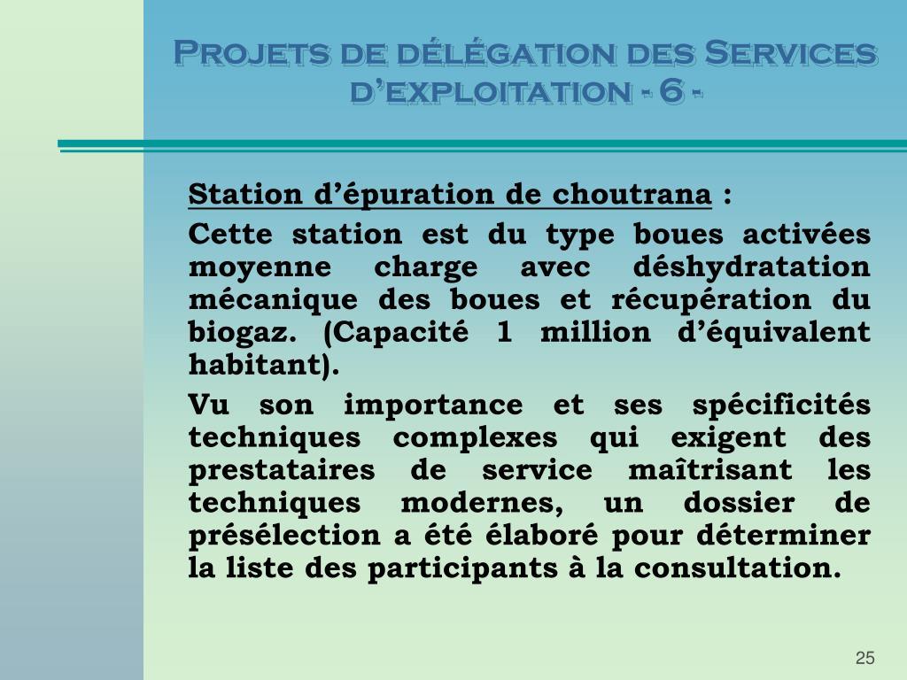 Projets de délégation des Services d'exploitation - 6 -