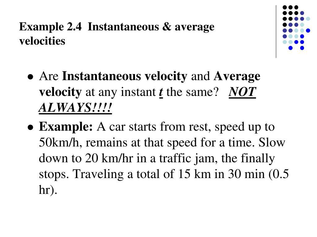 Example 2.4  Instantaneous & average velocities