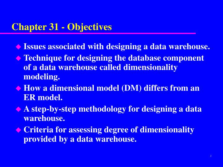 Chapter 31 objectives
