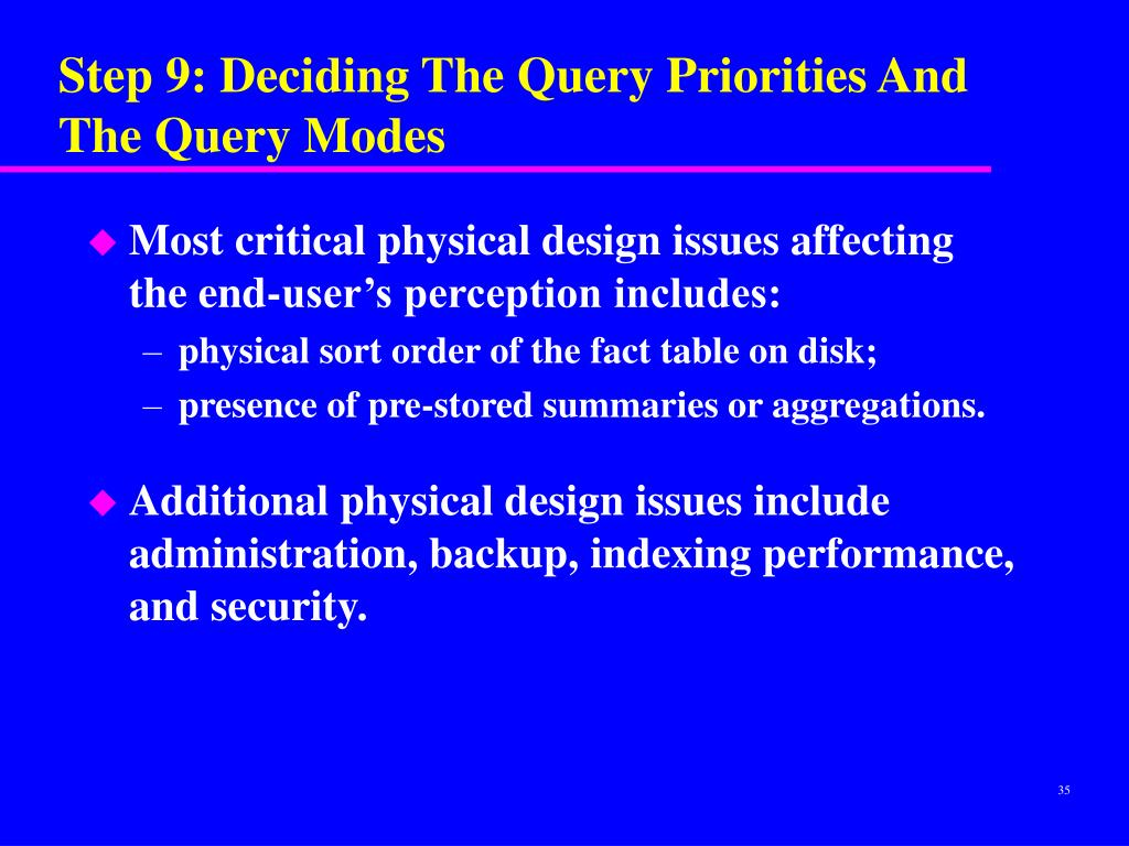 Step 9: Deciding The Query Priorities And The Query Modes
