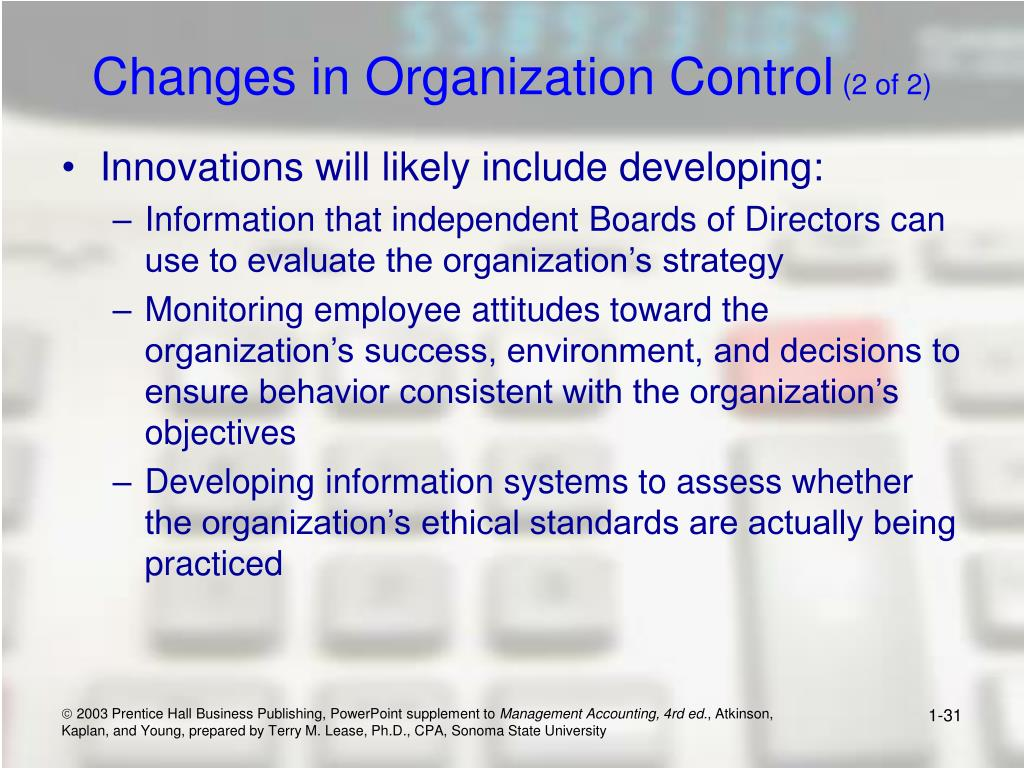 Changes in Organization Control