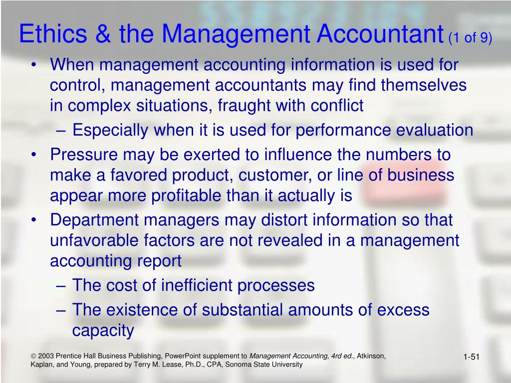 Ethics & the Management Accountant