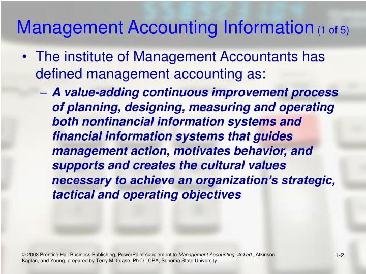 Management accounting information 1 of 5