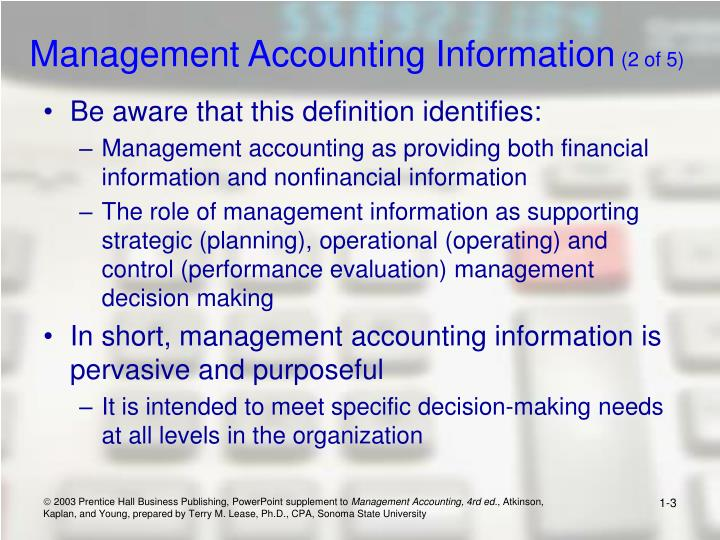 Management accounting information 2 of 5