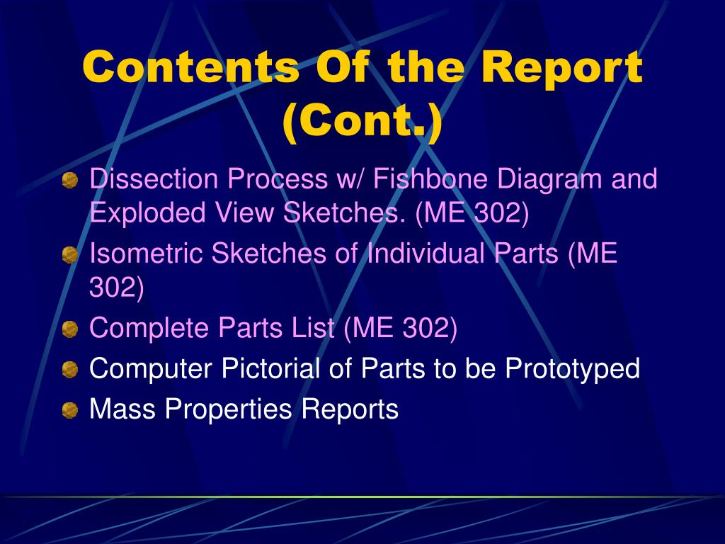 Contents Of the Report (Cont.)