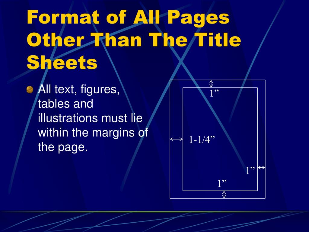 Format of All Pages Other Than The Title Sheets
