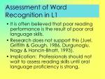 assessment of word recognition in l1