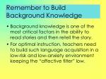 remember to build background knowledge