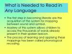 what is needed to read in any language