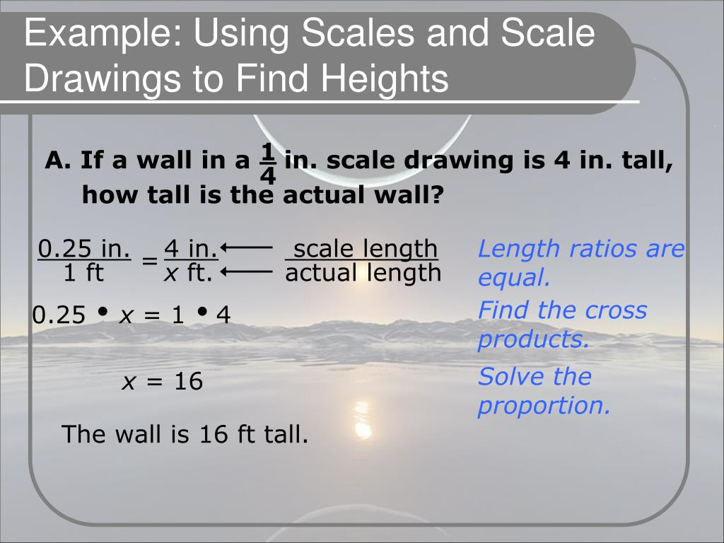 A. If a wall in a    in. scale drawing is 4 in. tall, how tall is the actual wall?
