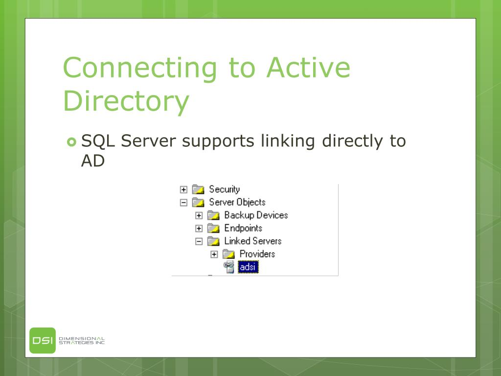 Connecting to Active Directory
