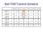 bad tdm transmit schedule