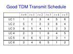 good tdm transmit schedule