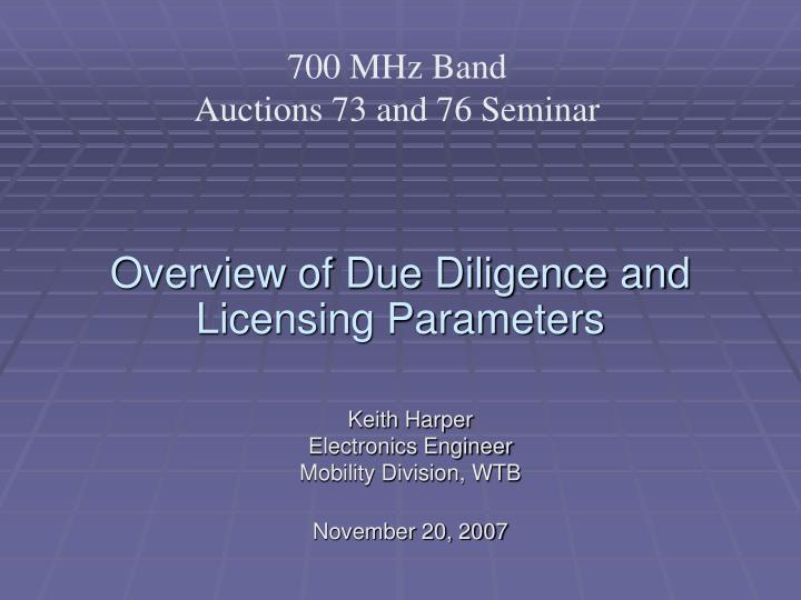 overview of due diligence and licensing parameters n.