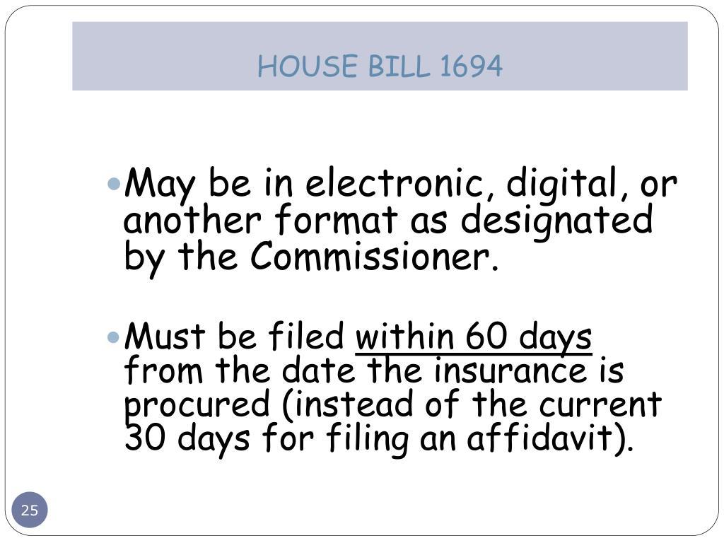 HOUSE BILL 1694