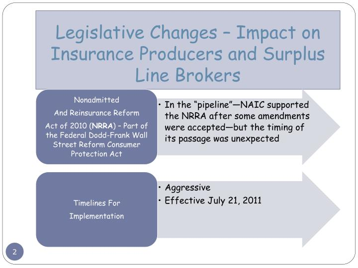 Legislative changes impact on insurance producers and surplus line brokers