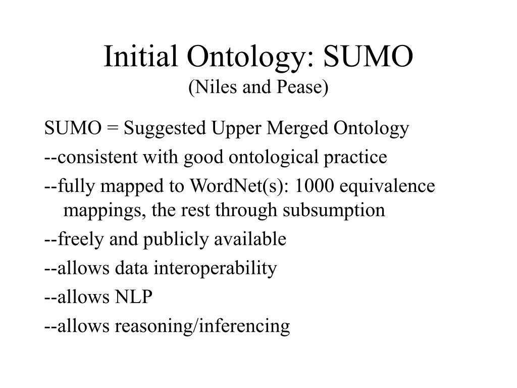 Initial Ontology: SUMO