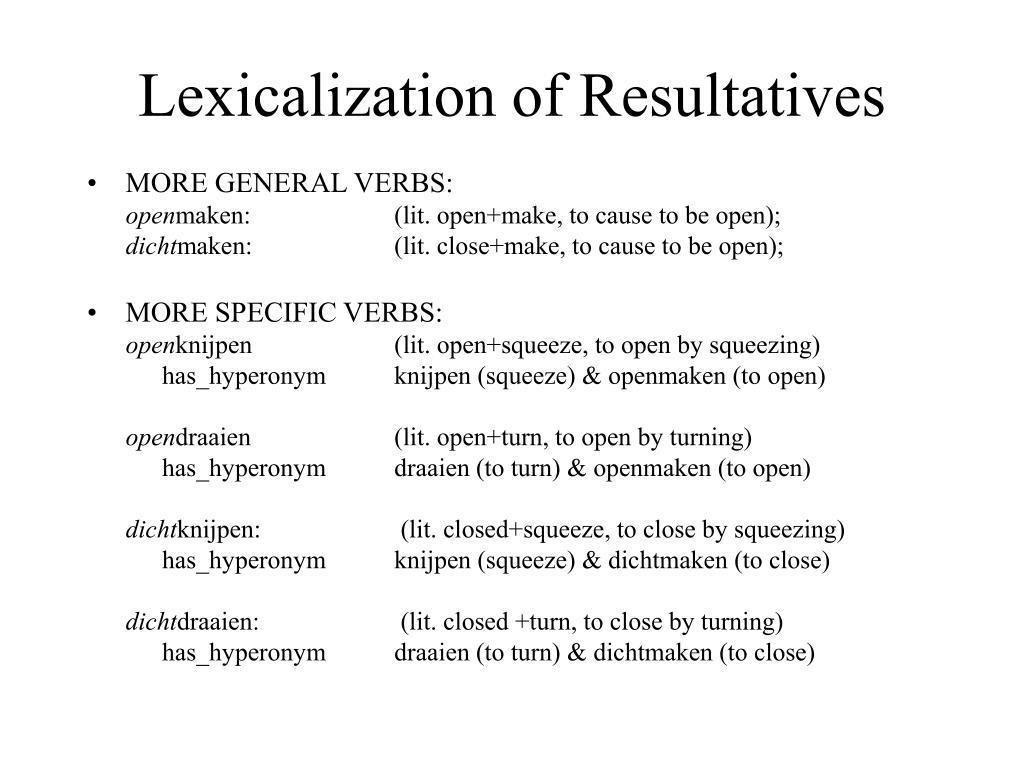 Lexicalization of Resultatives