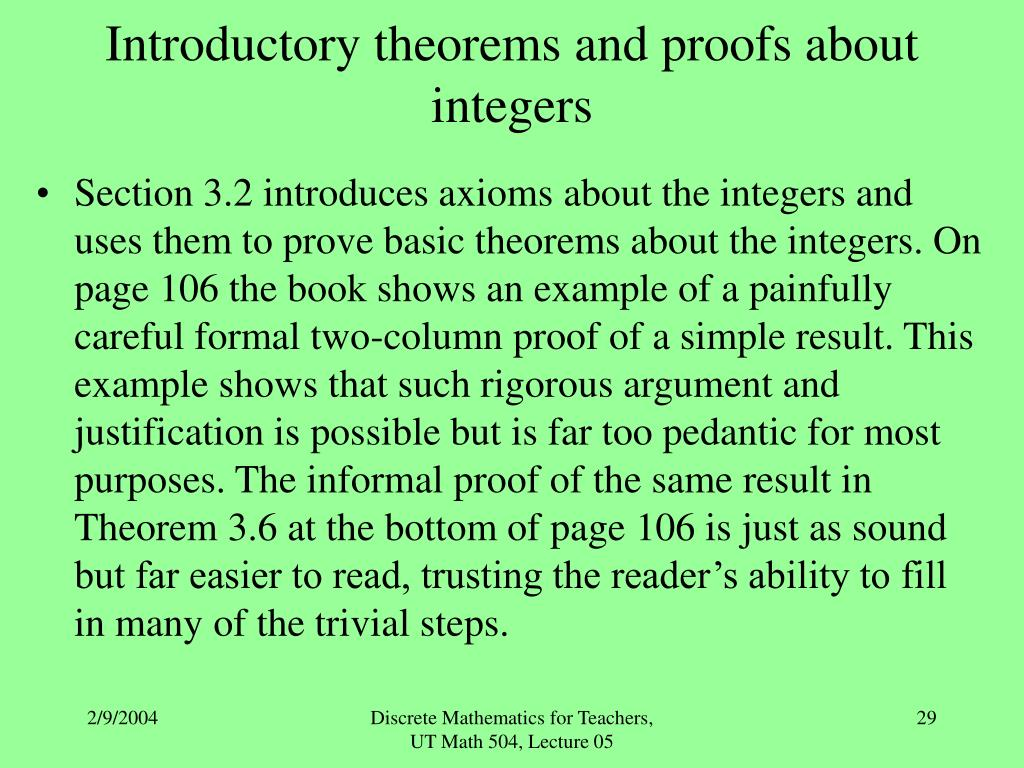 Introductory theorems and proofs about integers