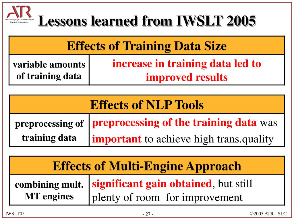 Lessons learned from IWSLT 2005