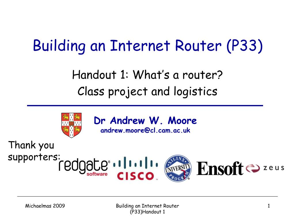 building an internet router p33 l.