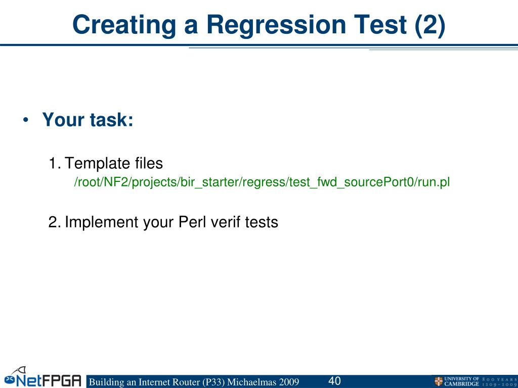 Creating a Regression Test (2)