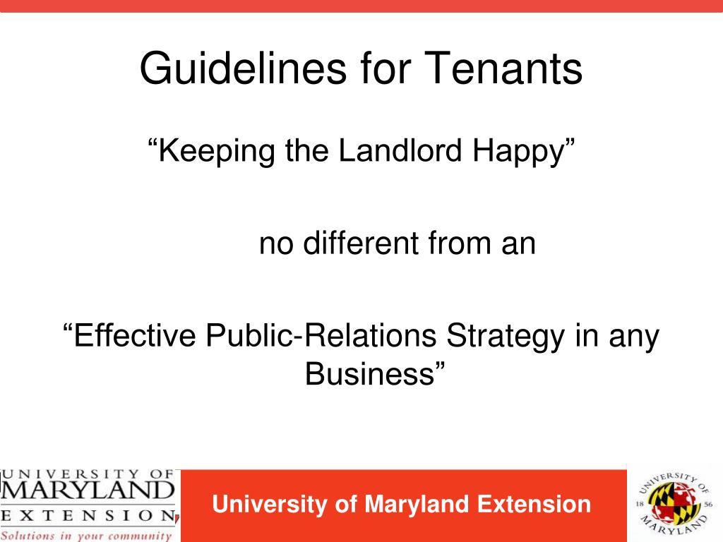 Guidelines for Tenants