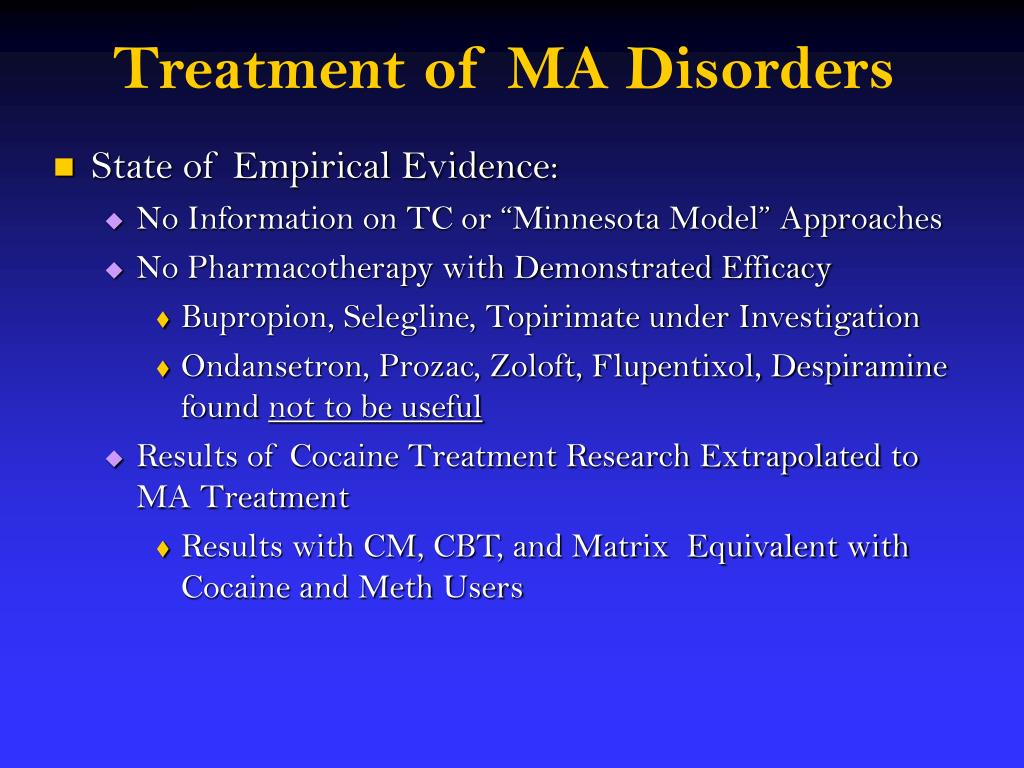 Treatment of MA Disorders