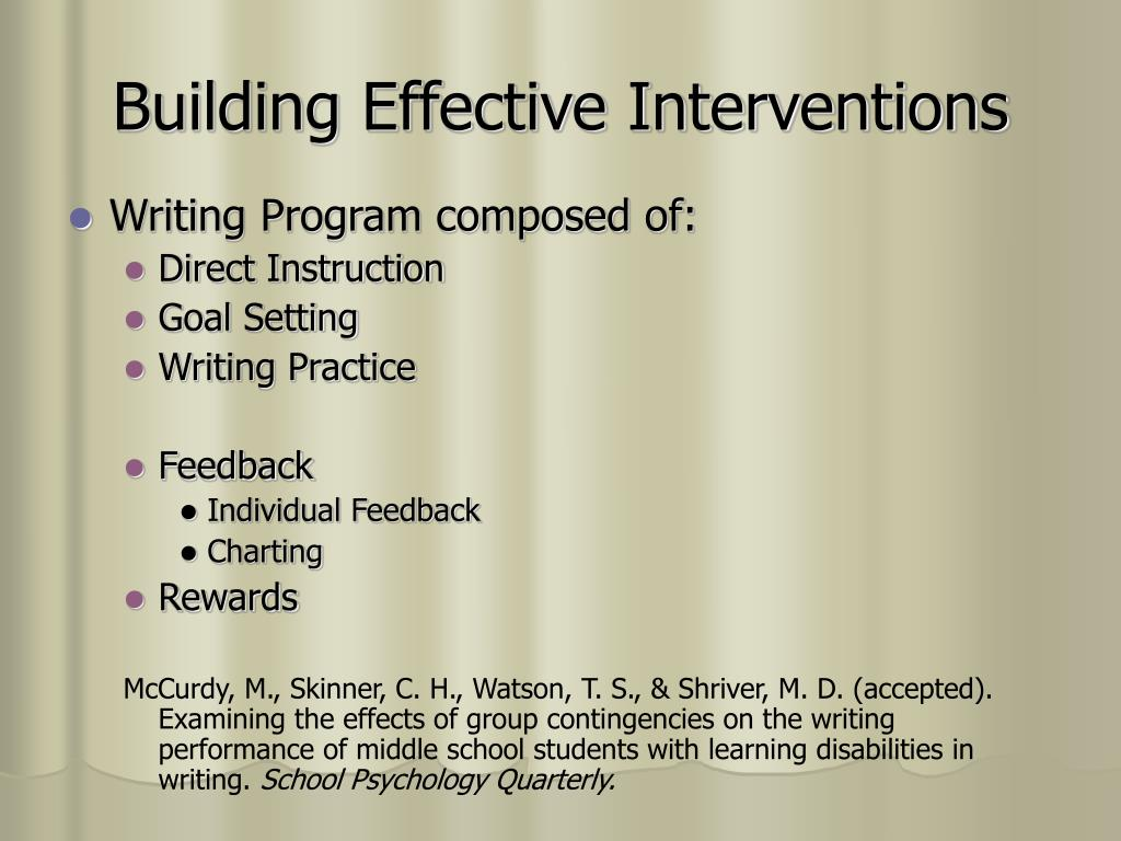 Building Effective Interventions