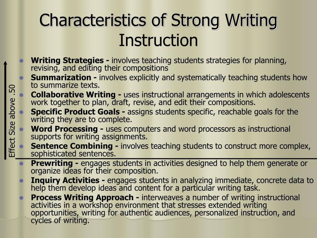 Characteristics of Strong Writing