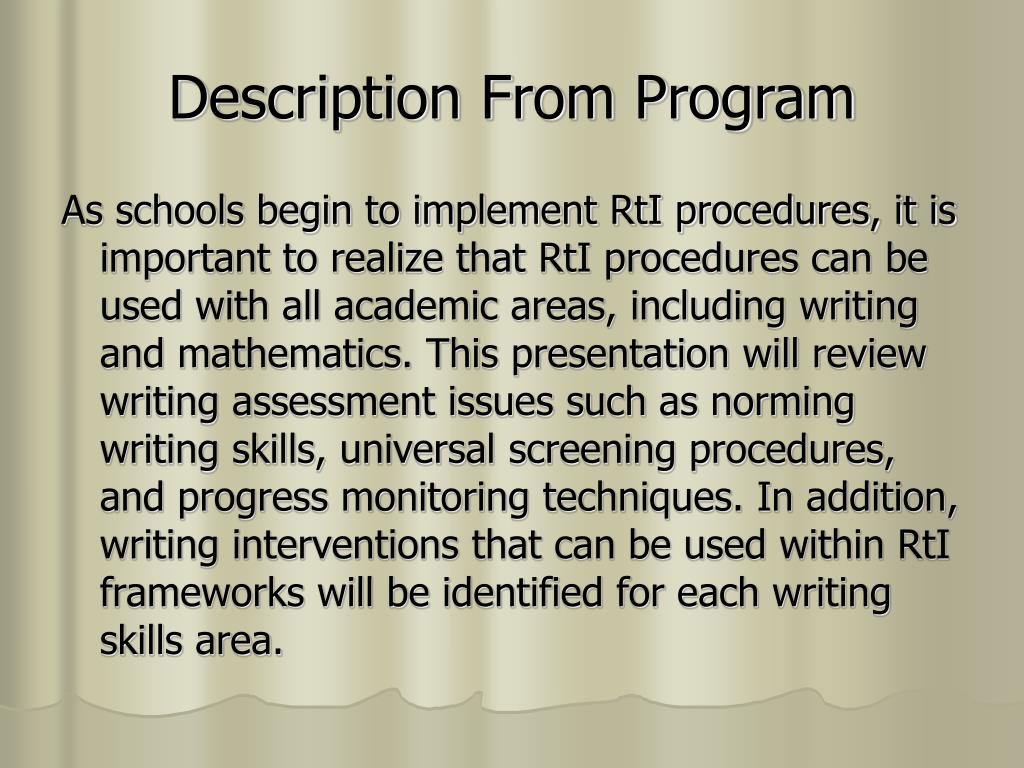 Description From Program