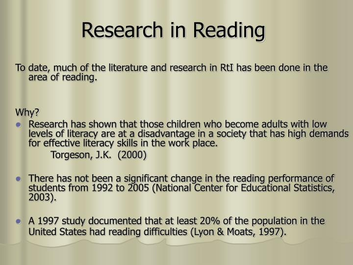 Research in reading