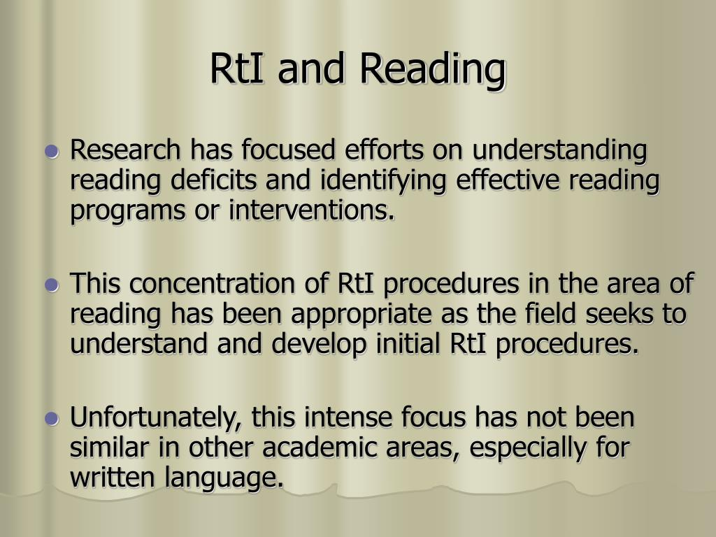 RtI and Reading
