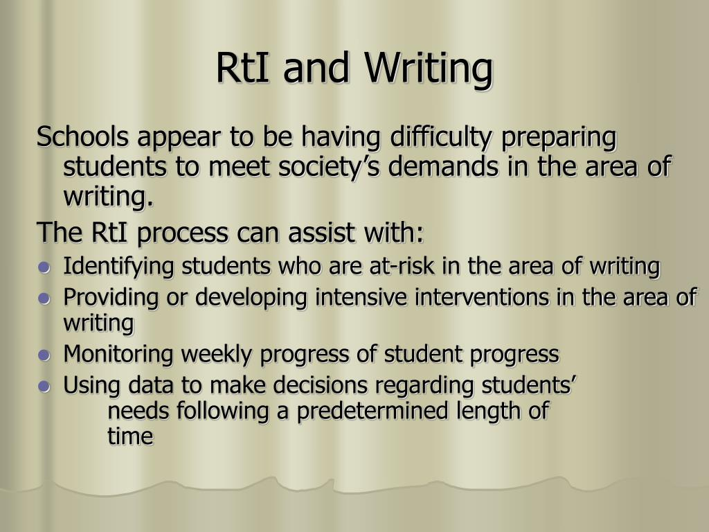 RtI and Writing