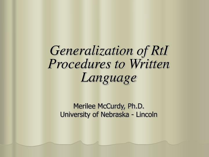 Generalization of RtI Procedures to Written Language