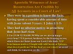 apostolic witnesses of jesus resurrection are credible by all accounts in a court of law
