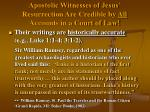 apostolic witnesses of jesus resurrection are credible by all accounts in a court of law29