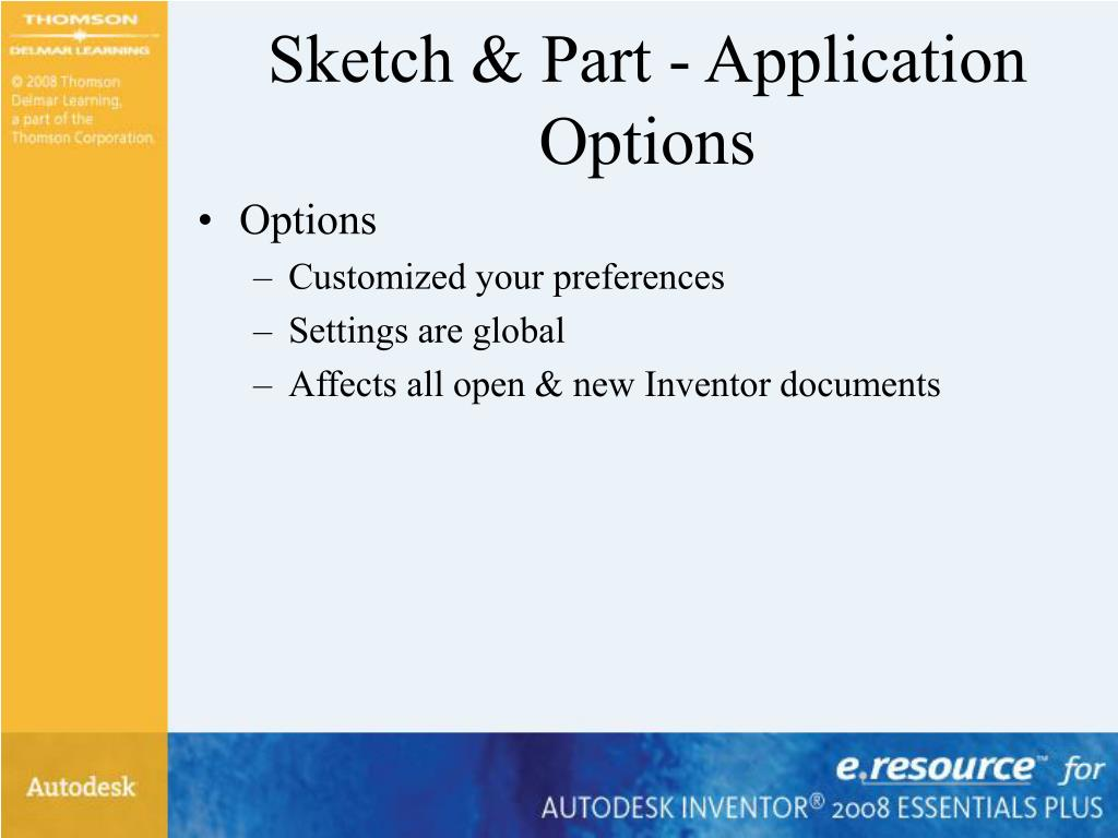 Sketch & Part - Application Options