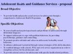 adolescent health and guidance services proposal